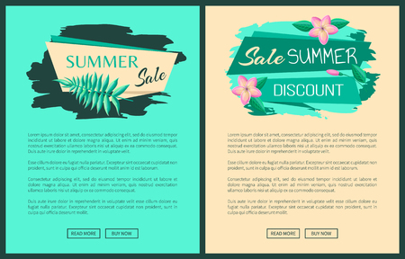 Summer big sale discount advertisement web posters set stickers and gentle flowers, certificates design, tag emblems on banners vector illustrations.