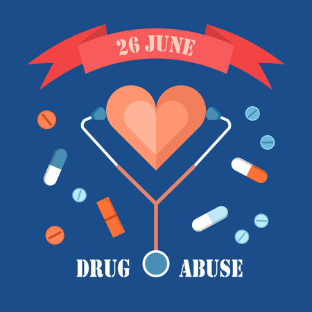 Drug abuse day 26 june banner isolated on blue, colorful vector illustration with different pills set that cause addiction, heart and stethoscope tool