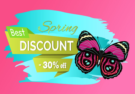 Best spring discount 30 off label butterfly, metallic spots on wings, morpho of pink and red color vector advertisement sticker, springtime creature