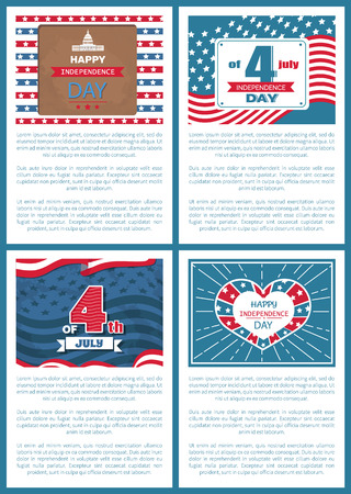 Set of patriotic US posters 4th July, happy Independence day, flag holiday symbols of USA, Washington Capitol, democratic heart, text vector greetings