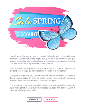 Sale spring discount label blue butterfly and dots, wings with ornaments antenna, morpho springtime creature vector promo sticker price reduce concept emblem