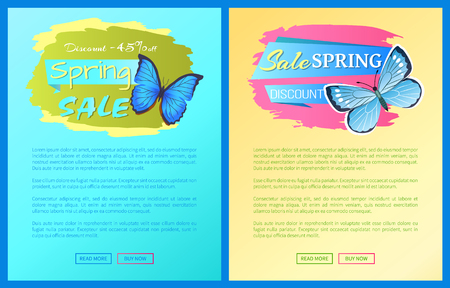 Sale spring discount sticker blue butterfly with dots, ornaments on wings and antenna, morpho springtime creature vector promo label price off concept emblem
