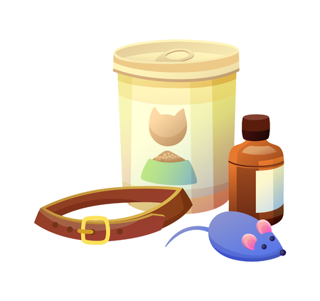 Pet shop items collection, canned bottle, dog-leash and mouse toy for cats, animal care products or objects set isolated cartoon vector illustration.