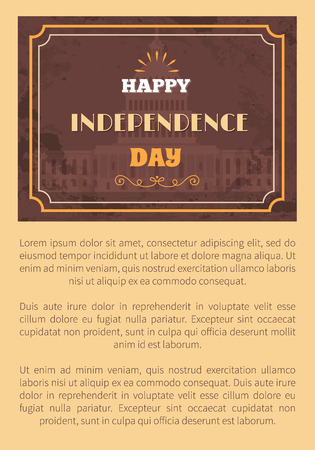 Happy Independence day poster Washington capitol on background, vintage style. Famous architectural attraction vector greeting card design, text sample Çizim