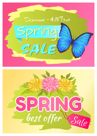 Discount 45 off set of posters butterfly and flower only today spring sale. Price off best offer collections, blue beauty insect and color daisy Ilustrace