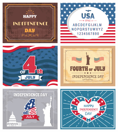 Patriotic holiday celebrated on 4th of July vector illustration set of greeting cards with memorials, posters dedicated to Independence day of America Ilustração
