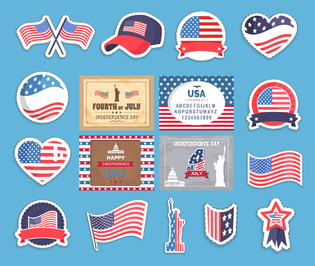 American Independence Day Stickers with Flag Set Stockfoto - 107225842