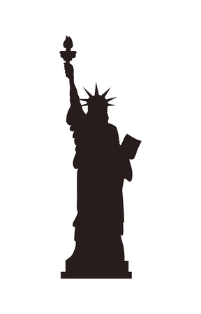 American Statue of Liberty on cubic stand black monochrome silhouette. Monument represented by woman in crown with torch and parchment isolated flat vector