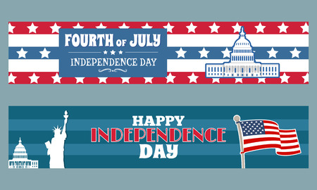 Fourth of July happy Independence day patriotic posters with symbols of US, Statue of Liberty, Washington Capitol, federal flag and text vector greetings Çizim