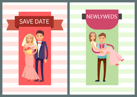 Save date and newlyweds collection of banners, woman wears veil with white dress, man in suit, bride next to groom, isolated on vector illustration.