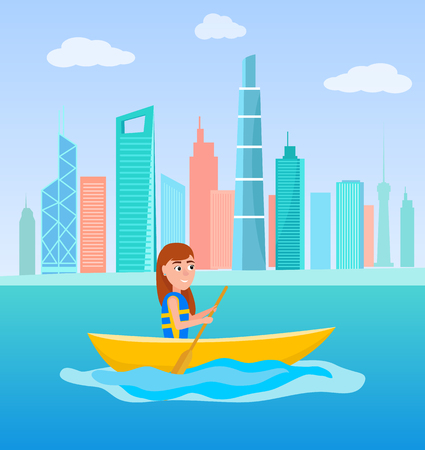 Kayaking girl sitting in boat and holding oar, summer activity outside sport, cartoon vector illustration on background of skyscrapers at cityscape.