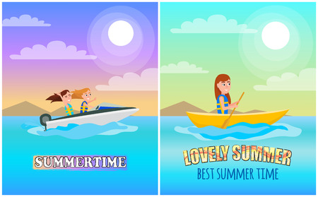 Summertime boating collection poster with headline, boat for summer sport and activity, sea under bright sun in sky cartoon flat vector illustration.
