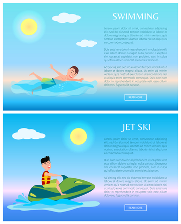 Swimming or jet ski, sea rest at summer time, cartoon vector illustration water sport, swimmer and man on green watercraft, sunny day marine vacation.
