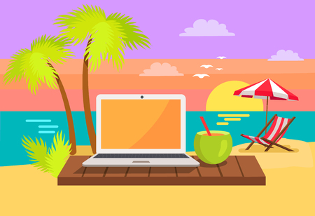 Open notebook on tropical beach, summer cocktail with straw, sun-bed under umbrella, summertime poster freelance concept on coastline background Иллюстрация