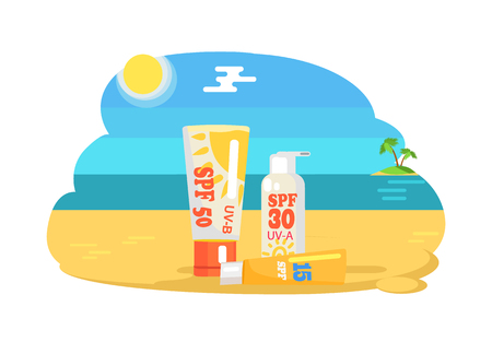 SPF sun protection factor and labeling moisturisers set, creams protecting from ultraviolet rays on coastline, stand on hot sand on seaview background Banque d'images - 111530986