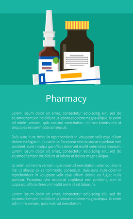 Pharmacy poster with nasal drops, ointment in tube, brilliant green triarylmethane dyes vector pharmaceutical bottles chemistry products isolated on green