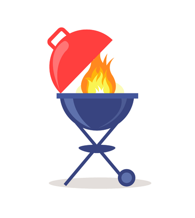 Brazier grill loaded with fresh charcoal briquettes and burning fire vector isolated on white. Barbeque device cooks food by applying heat from below.