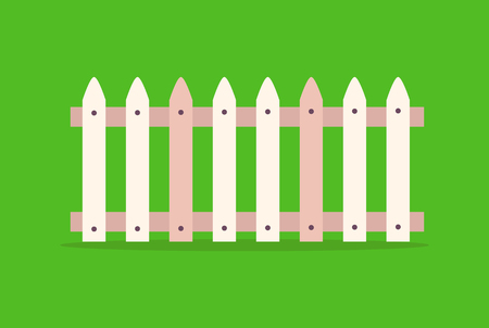 Wooden fence made of sticks joint by bars vector illustration border element isolated on green. Structure that encloses an area constructed from posts