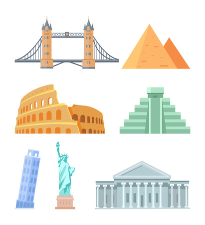 USA Capitol Building and Colosseum in Italy, statue of Liberty, Maya Egyptian Pyramids set, leaning tower of Pisa collection, vector illustration