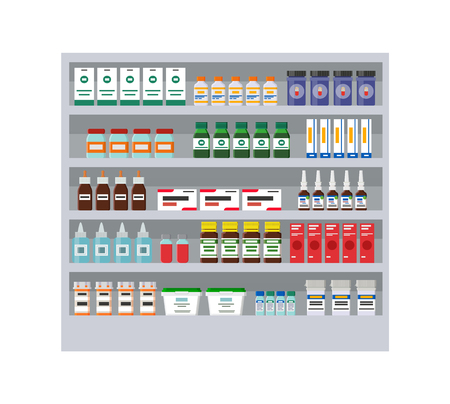 Shelves with different medicines in pharmacy card, vector illustration isolated on white background, collection of medical remedies, sprays and flasks Ilustrace