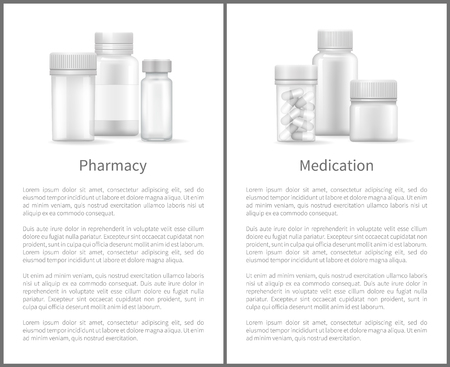 Pharmacy Medication Poster Containers for Medicals Stock Vector - 107225845
