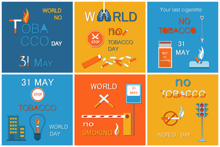 World no tobacco day set of posters asking to stop smoking, 31 May without cigarettes, refuse from harmful habit vector banners nicotine addiction reduce