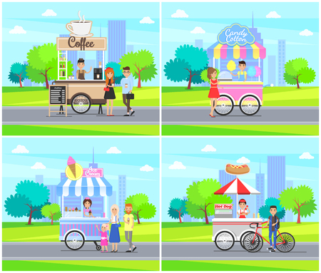Coffee Stalls Street Service Vector Illustration