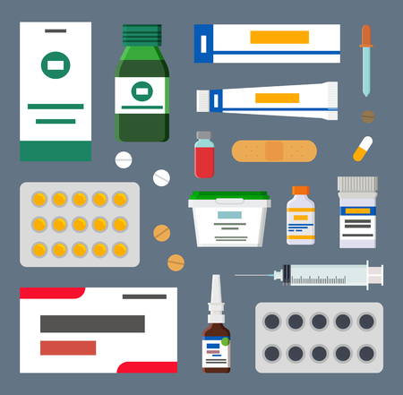 Medicines Set, Sharp Syringes and Sterile Plasters Vektorové ilustrace