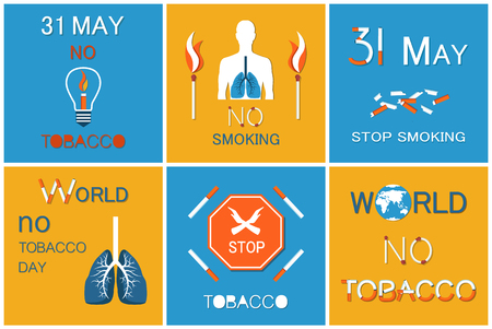 World no smoking day on 31 May vector posters set. Your last cigarette in ash tray, no tobacco and nicotine slogan with matches box, extinguished cigar