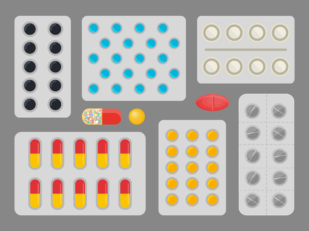 Medicine Capsules Blister Set Vector Illustration 向量圖像