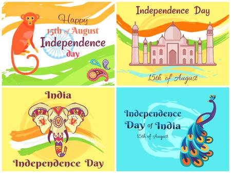 Happy Independence Day India Vector Illustration Illusztráció
