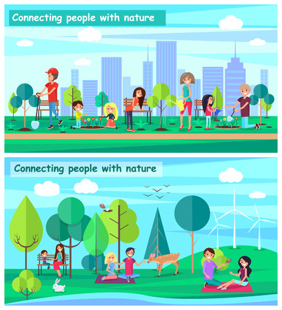 Connecting people with nature set of posters dedicated to World Environment Day WED. Banners encouraging awareness and action for protection of ecology Illustration