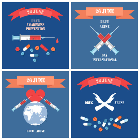 Drug abuse posters set syringes with blood, symbol of world globe, stop narcotic international day 26 June, addictive dependence from dope vector banner