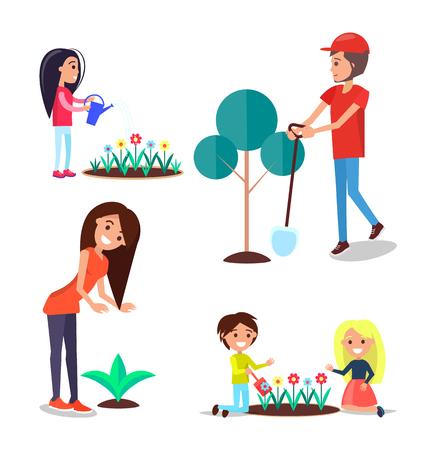 Weltumwelttag-Plakat mit Erwachsenen und Kindern, die im Gartenvektor einzeln auf Weiß arbeiten. Menschen, die sich um Blumen und Bäume kümmern