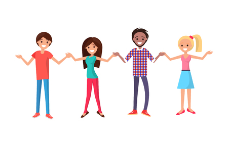 Men and women in cartoon style holding hands vector illustration. Cheerful people with wide open arms greets everyone isolated on white background.  イラスト・ベクター素材