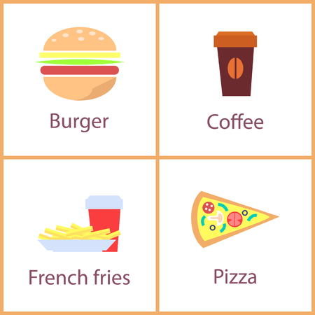 Burger and French fries dishes set, posters with pizza slice cup of coffee with seed image, food collection of banners isolated on vector illustration