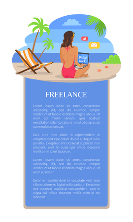 Freelance poster template add text woman back view sitting on sand near empty chaise longue and sending mails, vector illustration at coastline seashore Illustration