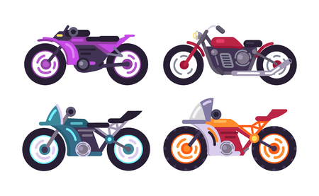 Set of Sportive Bikes Isolated Motorized Vehicles Ilustração
