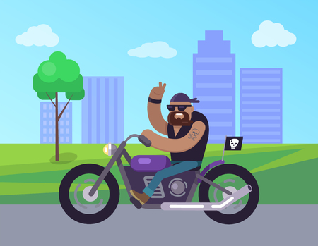 Motorcycle man riding in city roads, biker smiling showing peace sign with help of hand fingers, buildings and cityscape of town vector illustration Illustration