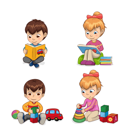 Attentive children reading books and getting to know something new, playing games, cubes cones, collection car ball isolated on vector illustration