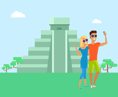 Maya Pyramid Man and Woman Vector Illustration
