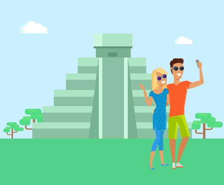 Maya Pyramid Man and Woman Vector Illustration