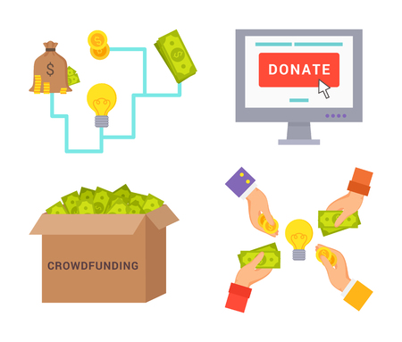 Crowdfunding donate collection icons, box with money system, screen of computer and hands circle vector illustration isolated on white, save coins
