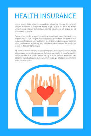 Health Insurance Poster with Round Logo with Hands Banque d'images - 107225906