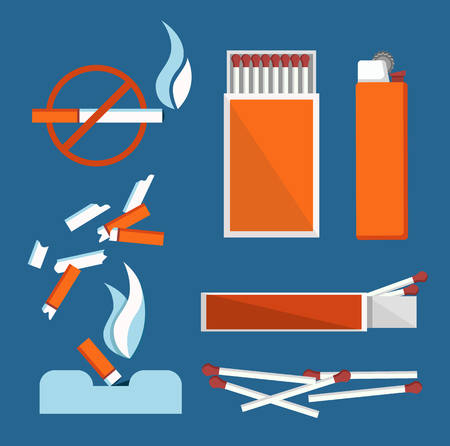 Stop Smoking Banner Isolated on Blue Background