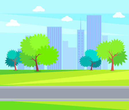 Urban buildings, offices and business centers on backdrop of blue sky. City park green trees and grass on background of skyscrapers vector illustration