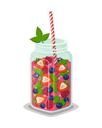Mug of Refreshing Drink Fresh Strawberry Cocktail Ilustração