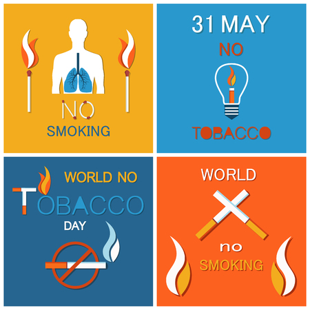 World no tobacco day banners set. Refuse from nicotine awareness vector illustration of struggle with unhealthy addiction poster, stop smoking symbol