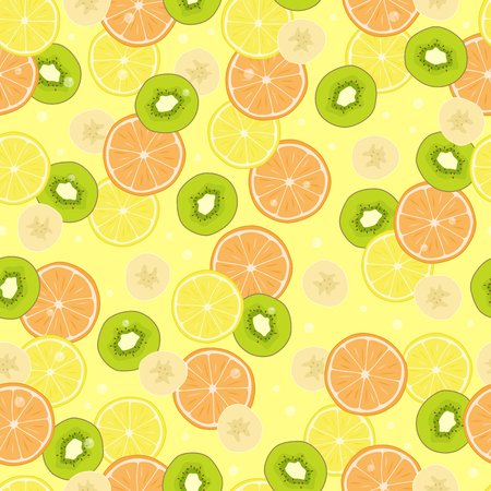 Seamless pattern with citrus fruits, banana pieces and kiwi slices, grapefruit and lemon ingredients, endless texture with detox diet ingredients vector
