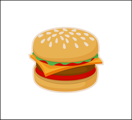 Burger icon template isolated on white background vector illustration of tasty street food, sandwich with cheese and meat cutlet, meal bun tomato slice